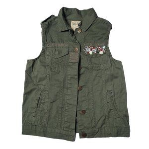 Juniors Dolled Up Jeweled Green Vest